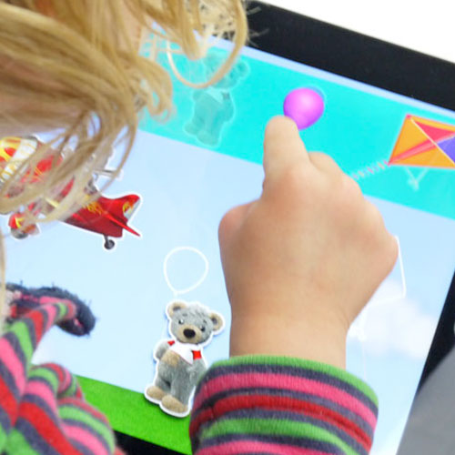 Young child using iPad