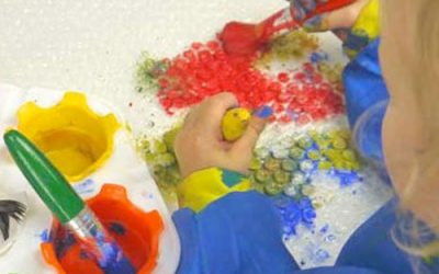Bubble Wrap Dancing and Printing – Music and Art Activities for Toddlers